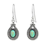 Oval Synthetic - 925 Sterling Silver Earrings with Gemstones SD23633