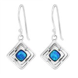 Square Synthetic - 925 Sterling Silver Earrings with Gemstones SD23635