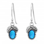 Oval Synthetic - 925 Sterling Silver Earrings with Gemstones SD23639
