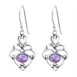 Flower Synthetic - 925 Sterling Silver Earrings with Gemstones SD23651