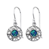 Flower Synthetic - 925 Sterling Silver Earrings with Gemstones SD23653