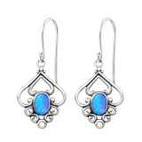Flower Synthetic - 925 Sterling Silver Earrings with Gemstones SD23655