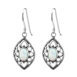 Marquise Synthetic - 925 Sterling Silver Earrings with Gemstones SD23659