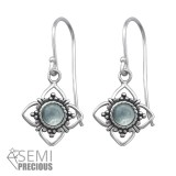Oxidized - 925 Sterling Silver Earrings with Gemstones SD30294