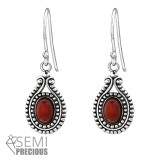 Bali Oval - 925 Sterling Silver Earrings with Gemstones SD31077