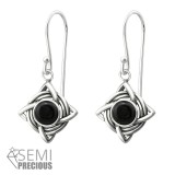 Celtic - 925 Sterling Silver Earrings with Gemstones SD31250