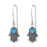 Hamsa - 925 Sterling Silver Earrings with Gemstones SD32042