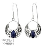 Ethnic - 925 Sterling Silver Earrings with Gemstones SD32049
