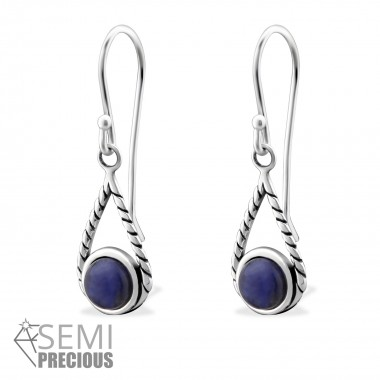 Tear Drop - 925 Sterling Silver Earrings with Gemstones SD32409