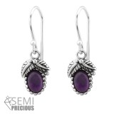 Oxidized - 925 Sterling Silver Earrings with Gemstones SD32410