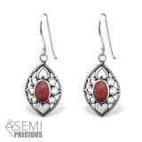Marquise - 925 Sterling Silver Earrings with Gemstones SD32412