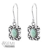 Square - 925 Sterling Silver Earrings with Gemstones SD32413