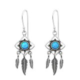 Flower Earring With Hanging Feather - 925 Sterling Silver Earrings with Gemstones SD34893