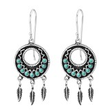 Ethnic - 925 Sterling Silver Earrings with Pearls SD35310