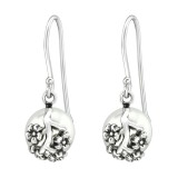 Flower - 925 Sterling Silver Earrings with Pearls SD37061