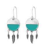 Silver Ethnic Earrings With Hanging Feather - 925 Sterling Silver Simple Earrings SD36433