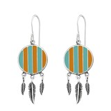 Silver Ethnic Earrings With Epoxy And Hanging Feather - 925 Sterling Silver Simple Earrings SD36461