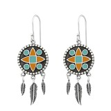 Silver Ethnic Earrings With Epoxy And Hanging Feather - 925 Sterling Silver Simple Earrings SD36462