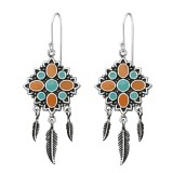 Silver Ethnic Earrings With Epoxy And Hanging Feather - 925 Sterling Silver Simple Earrings SD36463