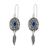 Ethnic - 925 Sterling Silver Simple Earrings SD37968