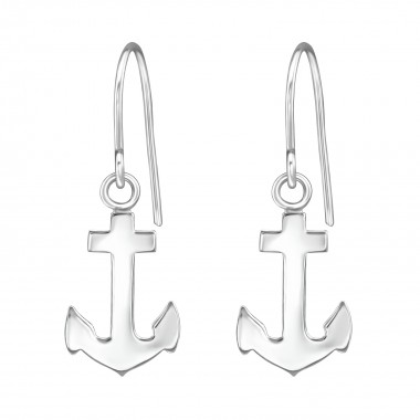 Anchor - 925 Sterling Silver Simple Earrings SD38608