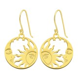 Moon And Sun - 925 Sterling Silver Simple Earrings SD40579