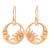 Moon And Sun - 925 Sterling Silver Simple Earrings SD40580