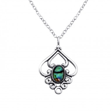 Flower - 925 Sterling Silver Necklaces with Stones SD30859