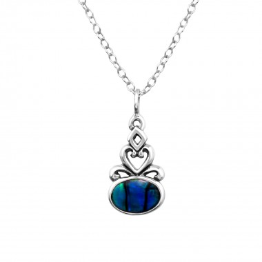 Oval - 925 Sterling Silver Necklaces with Stones SD30860