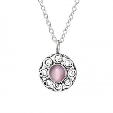 Flower - 925 Sterling Silver Necklaces with Stones SD30918