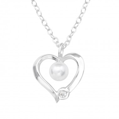 Heart - 925 Sterling Silver Necklaces with Stones SD39888