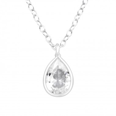 Pear - 925 Sterling Silver Necklaces with Stones SD41096
