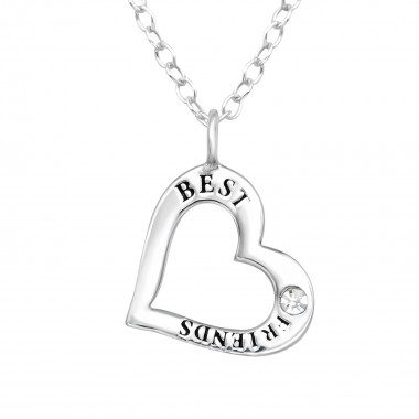 Heart - 925 Sterling Silver Necklaces with Stones SD41098