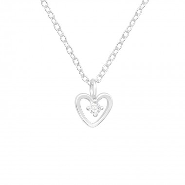 Heart - 925 Sterling Silver Necklaces with Stones SD41632