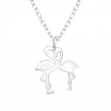 Flamingo Couple - 925 Sterling Silver Silver Necklaces SD39449