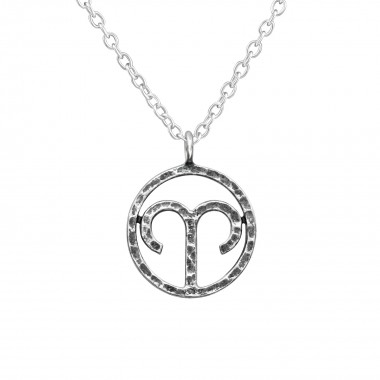 Aries Zodiac Sign - 925 Sterling Silver Silver Necklaces SD39473