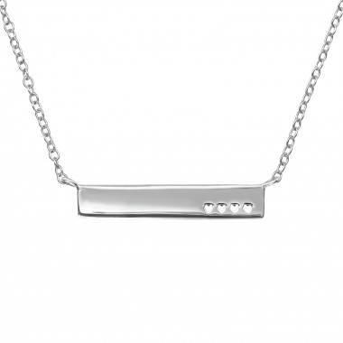 Bar With Heart - 925 Sterling Silver Silver Necklaces SD39715