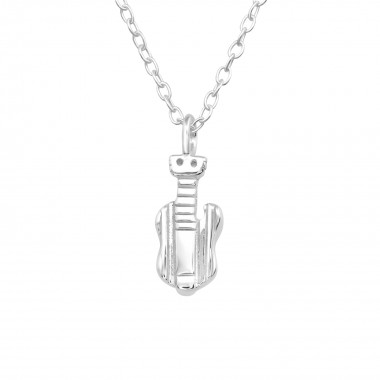 Guitar - 925 Sterling Silver Silver Necklaces SD40446
