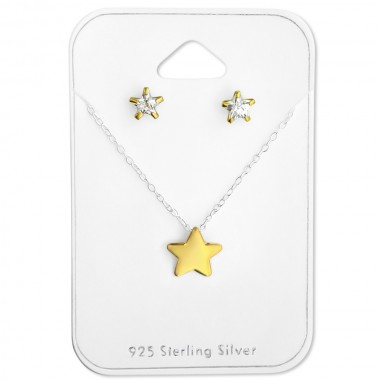 Star - 925 Sterling Silver Necklace & Stud Sets SD28932