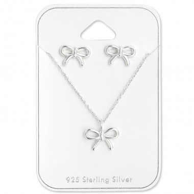 Bow - 925 Sterling Silver Necklace & Stud Sets SD28936