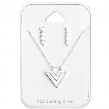 Triangle - 925 Sterling Silver Necklace & Stud Sets SD28952
