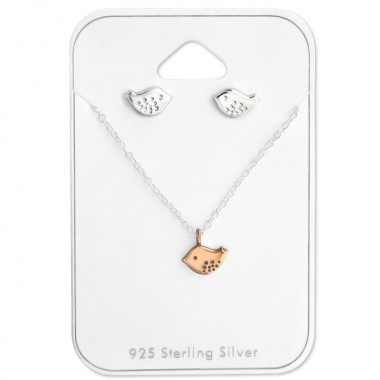 Bird - 925 Sterling Silver Necklace & Stud Sets SD28961