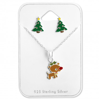 Christmas - 925 Sterling Silver Necklace & Stud Sets SD28988