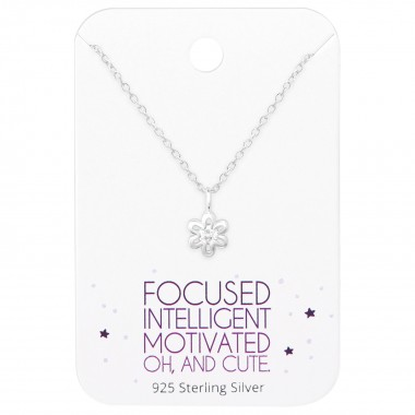 Flower Necklace On Motivational Quote Card - 925 Sterling Silver Necklace & Stud Sets SD36093