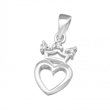 Crowned heart - 925 Sterling Silver Pendants with CZ SD11536