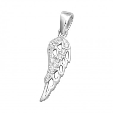 Wing - 925 Sterling Silver Pendants with CZ SD33424