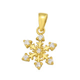 Snowflake - 925 Sterling Silver Pendants with CZ SD42099