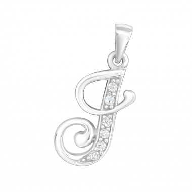 Initial j - 925 Sterling Silver Pendants with CZ SD7547
