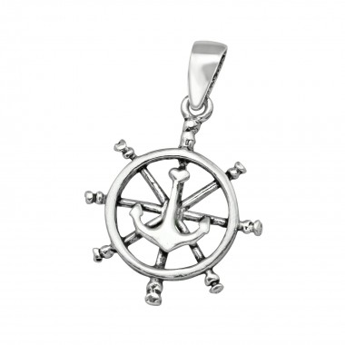 Ship's Wheel & Anchor - 925 Sterling Silver Simple Pendants SD39127