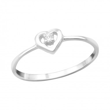 Heart - 925 Sterling Silver Rings with CZ SD15060